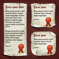 Letras medievais vintage com selos de cera