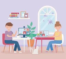encontro online, homem e mulher com laptop trabalhando virtual, fique em casa vetor