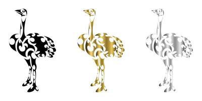 O vetor de três cores preto ouro prata linha arte de avestruz está adequado para uso como decoração ou logotipo