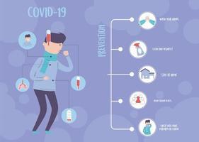 infográfico covid 19 pandêmico, disseminação respiratória do coronavírus, dicas de prevenção vetor