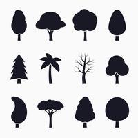 Conjunto de ícones de silhueta de árvore vetor