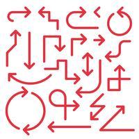 Conjunto de setas simples, cor vermelha