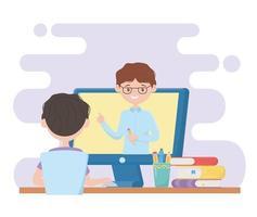 menino de estudante de educação online assistindo vídeo no computador vetor