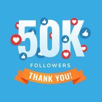 50k seguidores, post de sites sociais, cartão de felicitações vetor