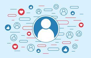 Gosta e ama símbolos, conceito de usuário de sites sociais vetor