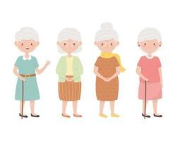 idosos, avós do grupo, idosos juntos personagens de desenhos animados vetor