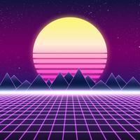 Design retro Synthwave, montanhas e sol, ilustração vetor