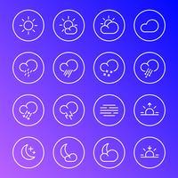 Ícones do tempo, símbolos de linha simples de meteorologia, ilustração