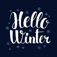 Olá inverno, design de bandeira de temporada de caligrafia, ilustração