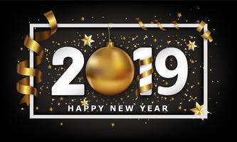Ano novo fundo tipográfico 2019 com elementos de bugiganga e listras de bola de ouro de Natal