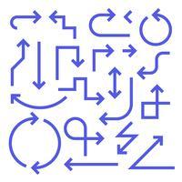 Conjunto de setas simples, cor azul