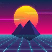 Design retro Synthwave, pirâmides e sol, ilustração