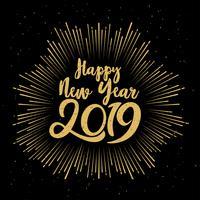 Feliz ano novo tipográfico de 2019. Ilustração vetorial com composição de letras e explosão. Rótulo festivo vintage de férias
