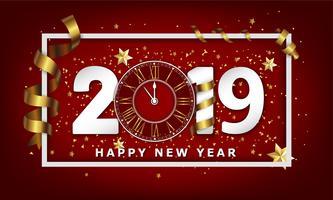 Ano novo tipográfico fundo criativo 2019 com relógio