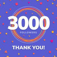 3000 seguidores, post de sites sociais, cartão de felicitações vetor
