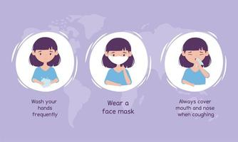 vírus covid 19 prevenção lavar as mãos, usar máscara, cobrir a boca e o nariz vetor
