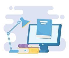livros educacionais de informática on-line e lâmpada de aprendizagem de e-books vetor