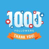 1000 seguidores, post de sites sociais, cartão de felicitações vetor