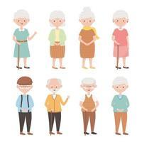 idosos, grupo de avós, avós, avós, personagens de desenhos animados de idosos maduros vetor