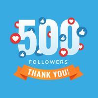 500 seguidores, postagens em sites sociais, cartão de felicitações vetor
