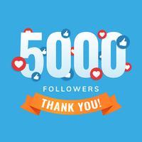 5000 seguidores, post de sites sociais, cartão de felicitações vetor