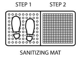 tapete de desinfecção. antibacteriano equipado em estilo de contorno. desinfecção tapete de duas zonas para calçados. ícone de desinfecção de sapatos vetor