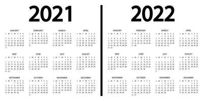 calendário 2021-2022. a semana começa no domingo. Modelo de calendário anual de 2021 e 2022. Calendário anual de 12 meses definido em 2021 e 2022 com design em cores preto e branco. domingo em cores vermelhas vetor