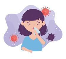 Prevenção do vírus covid 19 ao espirrar cobrir a boca vetor