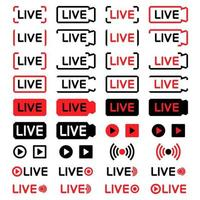 conjunto de ícones de transmissão ao vivo. ícones de transmissão ao vivo, isolados no fundo branco. botão ao vivo de mídia social. ícone da câmera. modelo do terço inferior para tv, programas, filmes e apresentações ao vivo vetor
