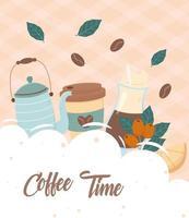hora do café, bule xícara de chá de limão bebida fresca vetor