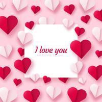 Fundo de dia dos namorados com corações de papel origami dividido em metade. vetor