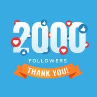 2000 seguidores, post de sites sociais, cartão de felicitações vetor