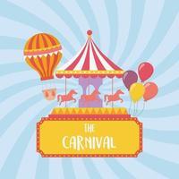 diversão feira carnaval carrossel balões de ar quente recreação entretenimento vetor