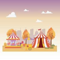 diversão feira carnaval barraca carrossel barraca de sorvete cidade recreação entretenimento vetor