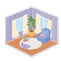 sweet home sofá cadeira almofada laptop planta carpete cortinas estilo isométrico vetor