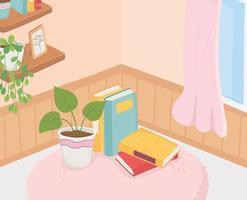 doce lar planta em vaso livros em estantes de carpete decoração de cortina de janela vetor