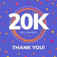 20k seguidores, post de sites sociais, cartão de felicitações vetor