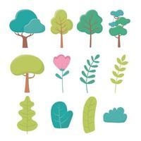 paisagem árvores flor ramo arbusto folhagem natureza verdura ícones vetor