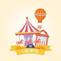 Fun fair carnaval carrossel de balão de ar e bilheteria recreação entretenimento vetor