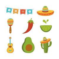 guitarra cinco de mayo cacto maraca limão abacate ícones mexicanos vetor