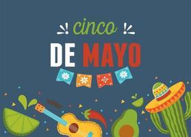 celebração mexicana de cinco de mayo guitarra abacate cacto limão vetor