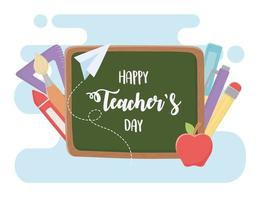 feliz dia dos professores, escola de lápis de maçã quadro-negro vetor