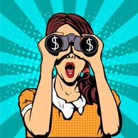 """Monitoramento financeiro da moeda dólar empresário binóculos pop art estilo retro. Mulher surpreendida """"sexy"""" com boca aberta. Fundo colorido do vetor no estilo cômico retro do pop art."""