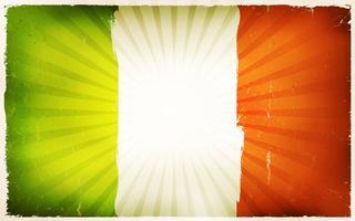 Vindima, bandeira irlandesa, cartaz, fundo vetor