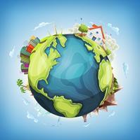 Fundo do planeta Terra com casa e natureza vetor
