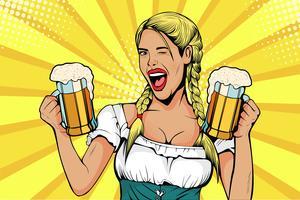 Garçonete de garota Alemanha carrega copos de cerveja. Celebração da Oktoberfest. Ilustração vetorial no estilo quadrinhos retrô pop art