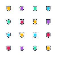 Conjunto de ícones de escudo, símbolos simples planas, pictogramas de guarda vetor
