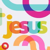 Jesus colorido Letering Vector Design