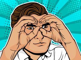Empresário, olhando através de binóculos feitos de mãos. Fundo colorido do vetor no estilo cômico retro do pop art.