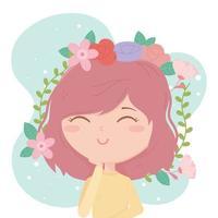 jovem morena decoração de cabelo desenho de flores vetor
